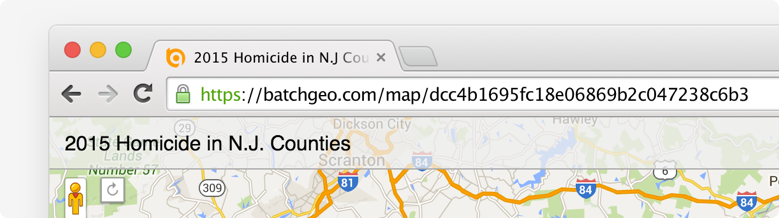 copy map url in browser